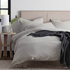 Jersey Cotton Duvet Set Travis Striped Cotton Jersey Duvet Cover The Company Store