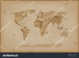 Vintage World Map Canvas by Vintage World Map Vector Illustration Isolated Stock Vector