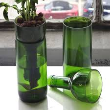 self watering wine bottle planter hand cut wine bottle sanded