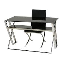 White X Desk by Glass U0026 Stainless Steel Desk Table 74 X 59 X 120 Cm Ace
