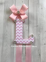 bow holders hair bow holder pink chevron patterned 4 letter