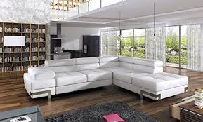 Leather Corner Sofa Emporio 4 Seater U2013 White Faux Leather Corner Sofa Bed With Armrest