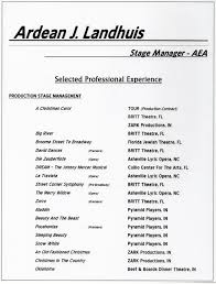 Music Manager Resume Stage Management Resume Ardean J Landhuis Performing Arts