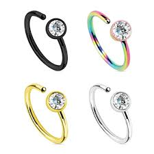nose jewelry rings images Bodyj4you nose ring hoop 20g cz set stainless steel 4 pieces body jpg