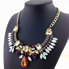 chunky necklace pendants images Colorful crystal flower thick chain 2015 new fashion necklace jpg
