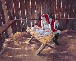 santa and baby jesus picture the greatest gift dickens