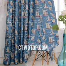 Nautical Curtain Fabric Room Blue And Gray Sailboat Fabric Half Price Nautical Curtains