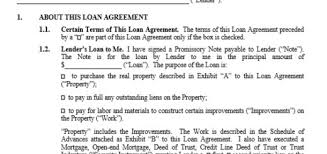 sample construction loan agreement sample loan agreement word doc