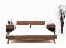 Platform Bed Frame With Headboard Modern Bed Platform Bed Walnut Bed Midcentury Modern Bed