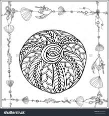 coloring page sea shells boho stock vector 396388588