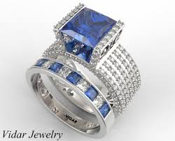 diamond rings sapphires images Princess cut blue sapphire wedding ring set in white gold vidar jpg