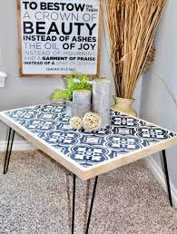 tile stenciled hairpin coffee table handmadehaven diy tutorials