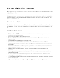 objectives resume sample career objective on a resumes enom warb co