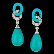 earrings app a pair of turquise and brilliant cut diamond earrings tot app