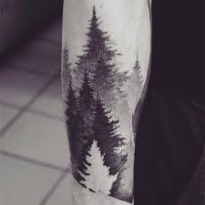 grey and black ink pine tree