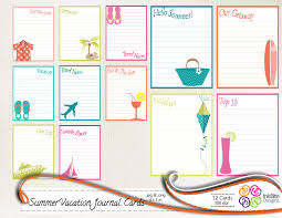 printable vacation journal pages printable journal cards summer vacation travel printable note
