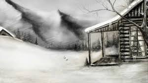 winter landscape speed drawing youtube