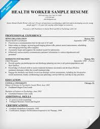 Social Work Resume Examples by Health Worker Resume Sample Http Resumecompanion Com Health