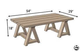 coffee table building plans sawhorse coffee table free diy plans rogue engineer