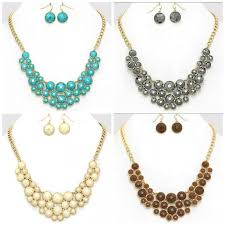 turquoise colored necklace images U shaped pearlescent circle bib gold statement necklace set jpg