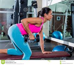 one arm dumbbell bent over row workout stock photo image