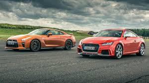 nissan gtr matte black and red top gear drag races nissan gt r vs audi tt rs top gear