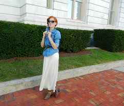 white maxi skirt with chambray shirt and brown cowboy boots