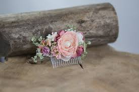 hair flowers flower hair comb floral white pink fairy hair flowers wedding comb