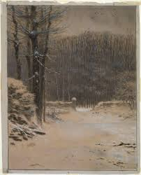 entrance to the forest at barbizon in winter museum of arts