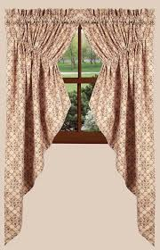 Lined Swag Curtains Chanticleer Gathered Swag Curtains In Barn Red
