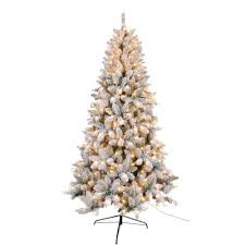 7 5 ft flocked tree with 450 ul lights 980 tips 15922 the home depot