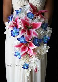 stargazer bouquet blue orchid and stargazer wedding bouquet