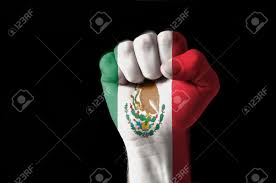 Color Of Egypt Flag Low Key Picture Of A Fist Painted In Colors Of Mexico Flag Stock