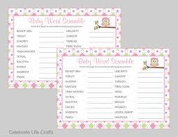 baby shower word scramble game u0026 answer key printable