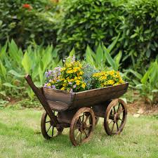 Planter Pot Wood Ikayaa Garden Wood Wagon Planter Pot Lovdock Com