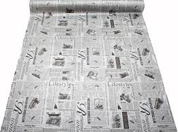 Home Decor Print Fabric Designer Vintage Retro Newspaper Print Faux Leather Vinyl Bag