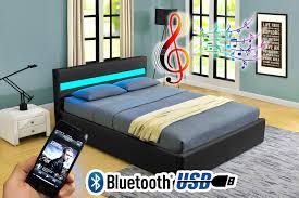 Led Bed Frame Romero Ottoman Storage Bed Led Bluetooth Usb Leather