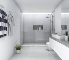 bright bathroom interior with clean 3d rendering white clean modern bathroom with bright daylight