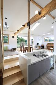 the country home alone on jeju island split level kitchen