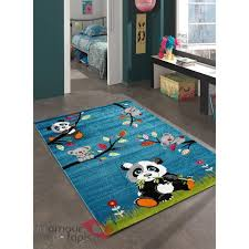 tapis de chambre bébé tapis chambre enfant sky panda bleu 160x230 par unamourdetapis