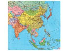 asia east map south east asia wall map far east continentmaps wall maps