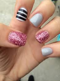 gray glitter pink white with black stripes fall nails short