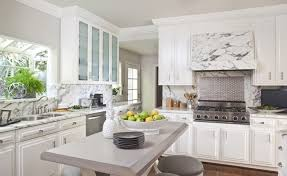Transitional White Kitchen - marble kitchen hood transitional kitchen sue firestone