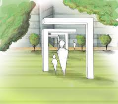 concept sketch of a mirrored passage through a park up to a