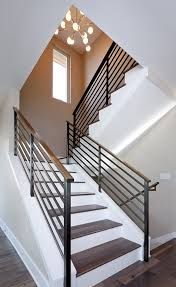 open rails staircase contemporary with wood flooring click lock