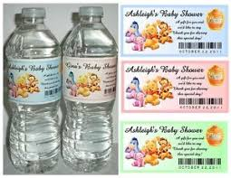 winnie the pooh baby shower favors 20 winnie the pooh baby shower favors water bottle labels glossy