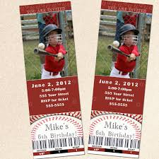 Personalized Birthday Invitation Cards Ticket Birthday Invitation Boy Baseball Red Photo Card Baby