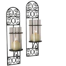 Flameless Candle Wall Sconce Set 2 Adeco Iron And Glass Vertical Wall Hanging Candle Holder Sconce