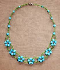 beaded necklace photos images Free pattern for beaded necklace blue flowers beads magic jpg