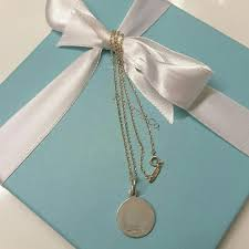 Tiffany And Co Gift Wrapping - tiffany u0026 co sterling silver round tag plain pendant 16